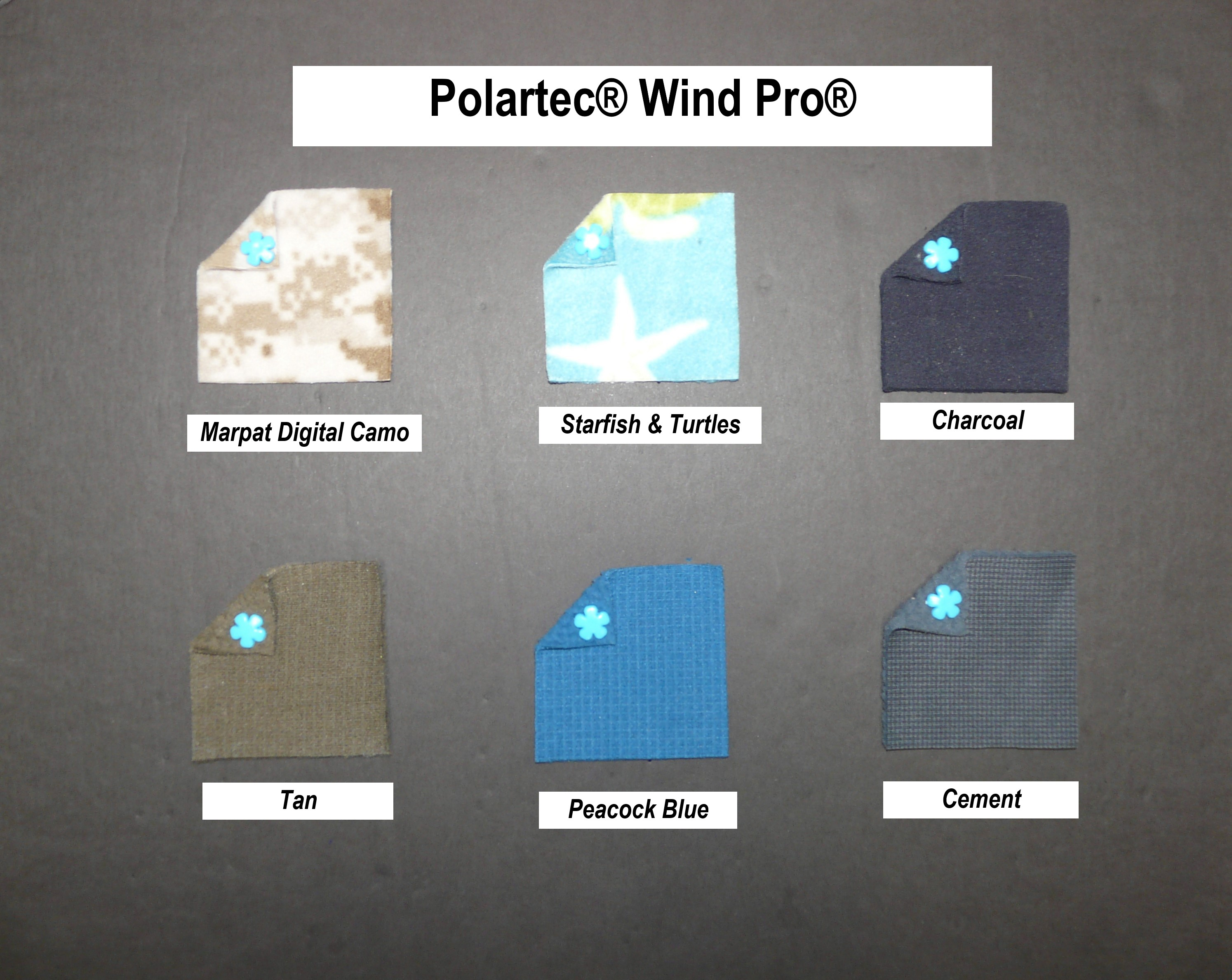 a55ef80876e Fabric swatches for Polartec Wind Pro fleece in Marpat Digital Camo,  Starfish and Turtles,