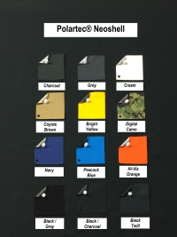 Fabric swatches for Polartec NeoShell