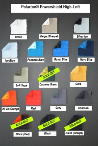 Fabric swatches of Polartec PowerShield High Loft softshells in Stone, Beige, Silver Ice, Ice Blue, Peacock Blue, Royal Blue, Navy Blue, Soft Sage, Cypress Green, Gold, Hi-Vis Orange, Red, Grey, Charcoal, Black (red back), Black, Black (Serpa Black)