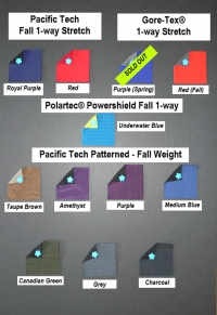 Fabric swatches of Pacific Tech one-way stretch solid colors in royal purple and red, Gore-tex one-way stretch in purple and red, Polartec Powershield one-way stretch in underwater blue and Pacific Tech patterned softshells in taupe, amethyst, purple, medium blue, Canadian green, grey and Charcoal
