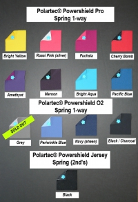 Fabric swatches for Polartec PowerShield softshells in spring weight with one-way stretch in bright yellow, rossi pink with silver back, fuschia, cherry bomb, amethyst, maroon, bright aqua and pacific blue and Polartec Powershield O2 in grey, periwinkle blue, navy with sheen and black with charcoal back and Polartec Powershield Jersey in black